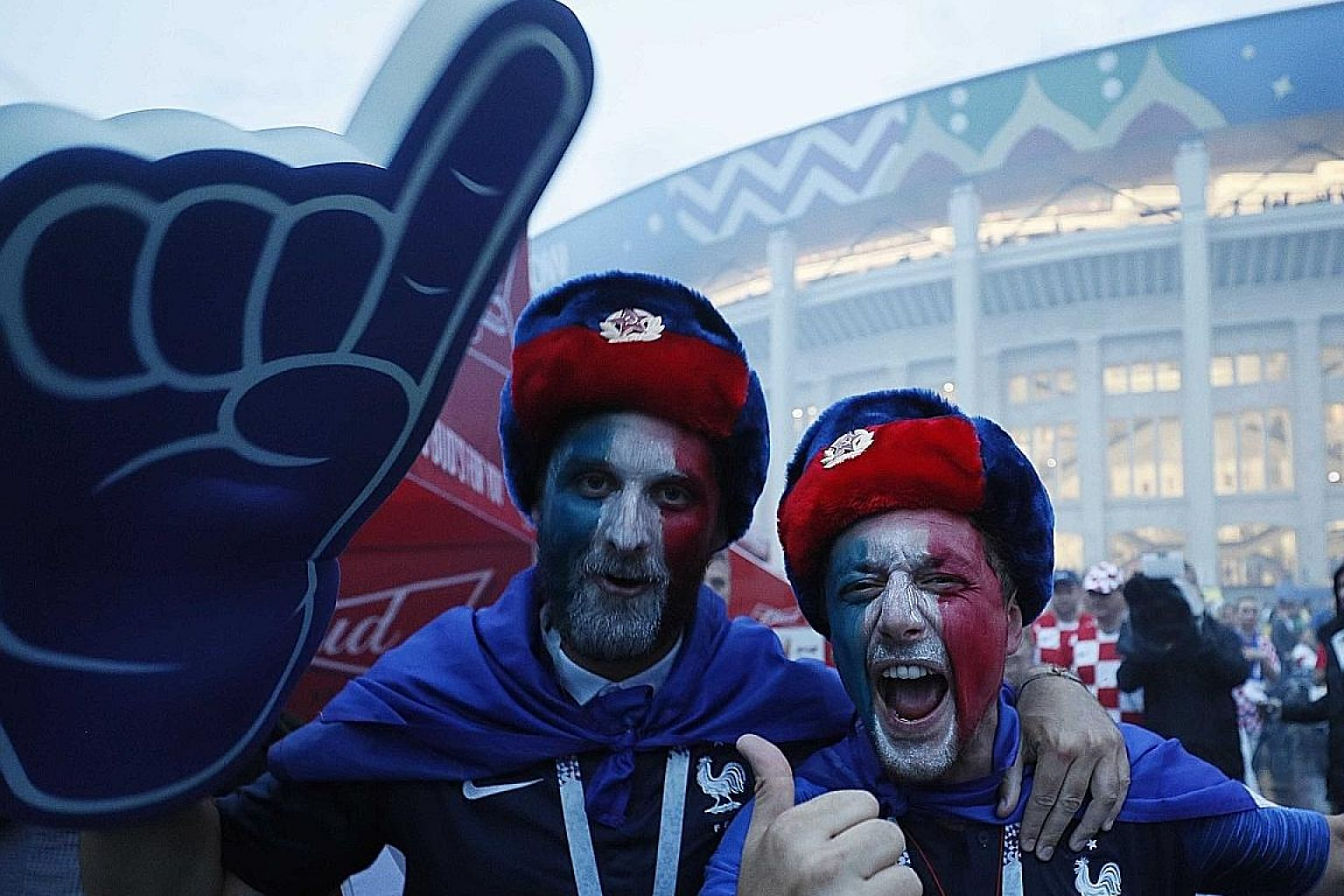 Ecstatic French supporters outside the Luzhniki Stadium after the final.