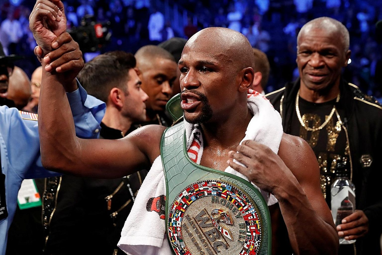 (Clockwise from far left) Boxer Floyd Mayweather was followed by actor George Clooney at No. 2 and reality TV star Kylie Jenner at the third spot on the annual highest paid celebrities list.
