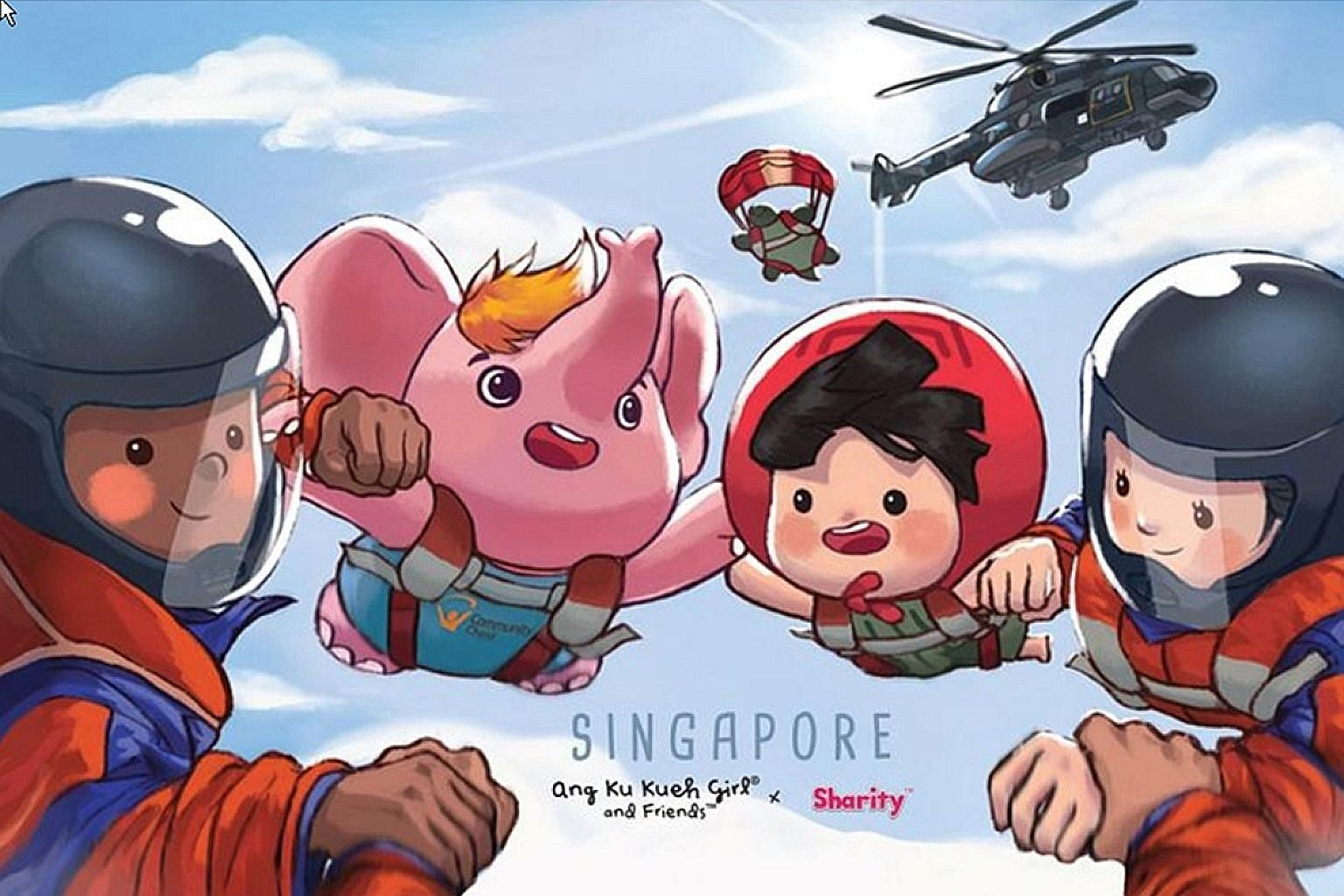 The two National Day-themed EZ-Link card designs feature Sharity and Ang Ku Kueh Girl alongside NDP crowd favourites such as the Red Lions and the Black Knights.