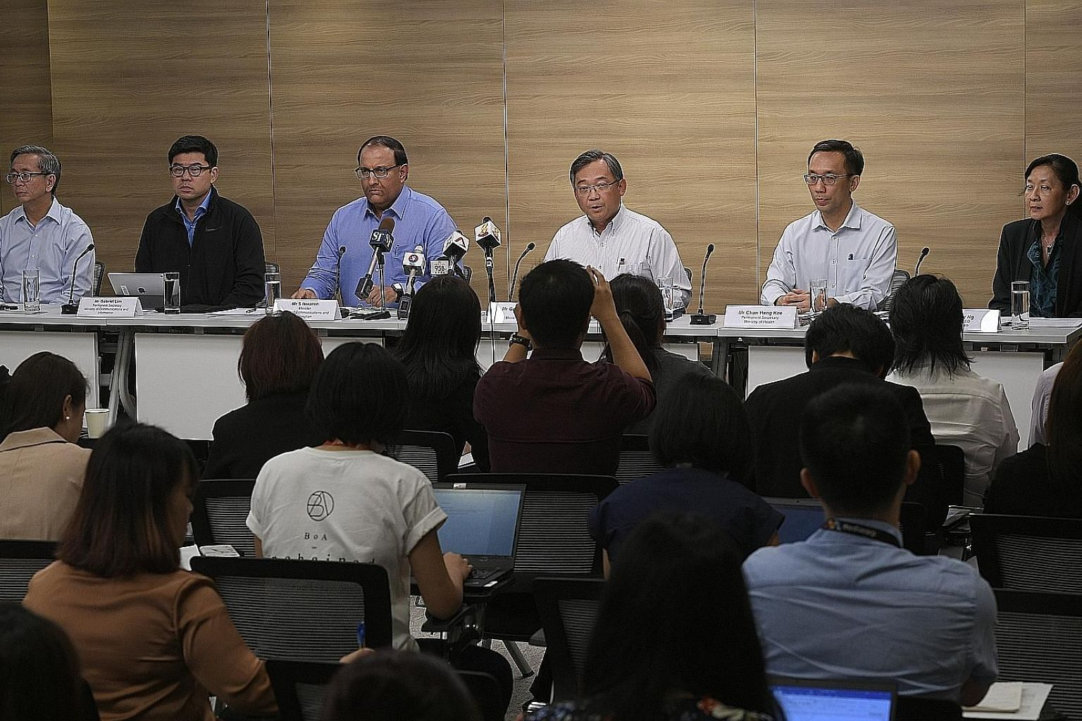 (From far left) Cyber Security Agency chief executive David Koh; MCI Permanent Secretary Gabriel Lim; Minister for Communications and Information S. Iswaran; Health Minister Gan Kim Yong; MOH Permanent Secretary Chan Heng Kee; and SingHealth CEO Ivy