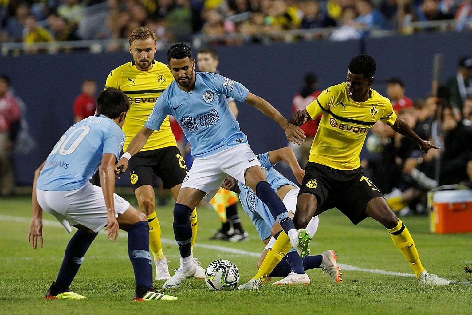 Club-record signing Riyad Mahrez made his debut for Manchester City in the International Champions Cup match against German side Borussia Dortmund at the Soldier Field Stadium in Chicago on Friday. The Algerian came close to scoring with a 20-yard fr