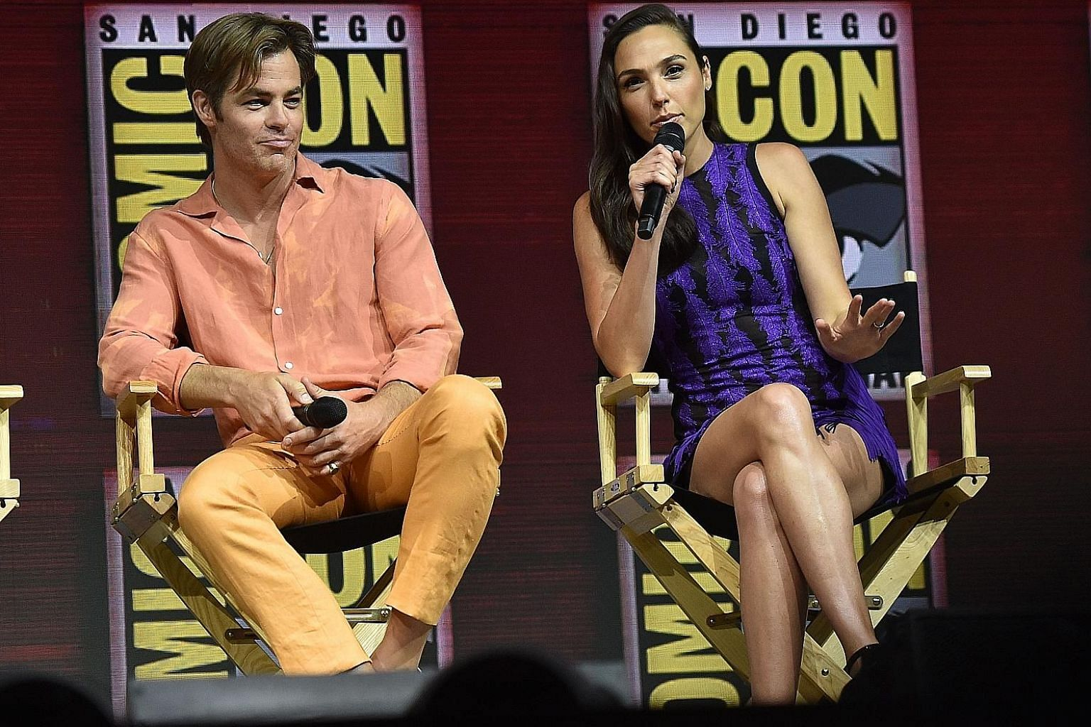 Chris Pine joined Wonder Woman star Gal Gadot to talk about Wonder Woman 1984, which began filming three weeks ago. Johnny Depp appeared as the pale and dishevelled villain Grindelwald of Fantastic Beasts: The Crimes Of Grindelwald at San Diego Comic
