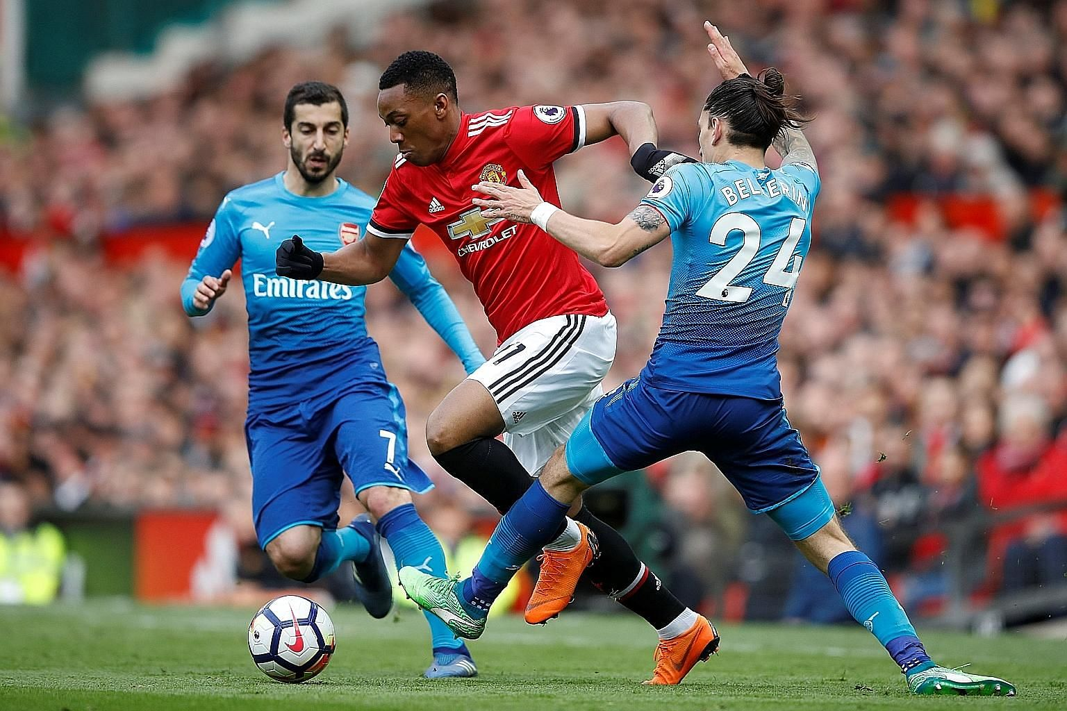 The playing time of Anthony Martial, seen here against Arsenal, had been further reduced following the January signing of Alexis Sanchez.