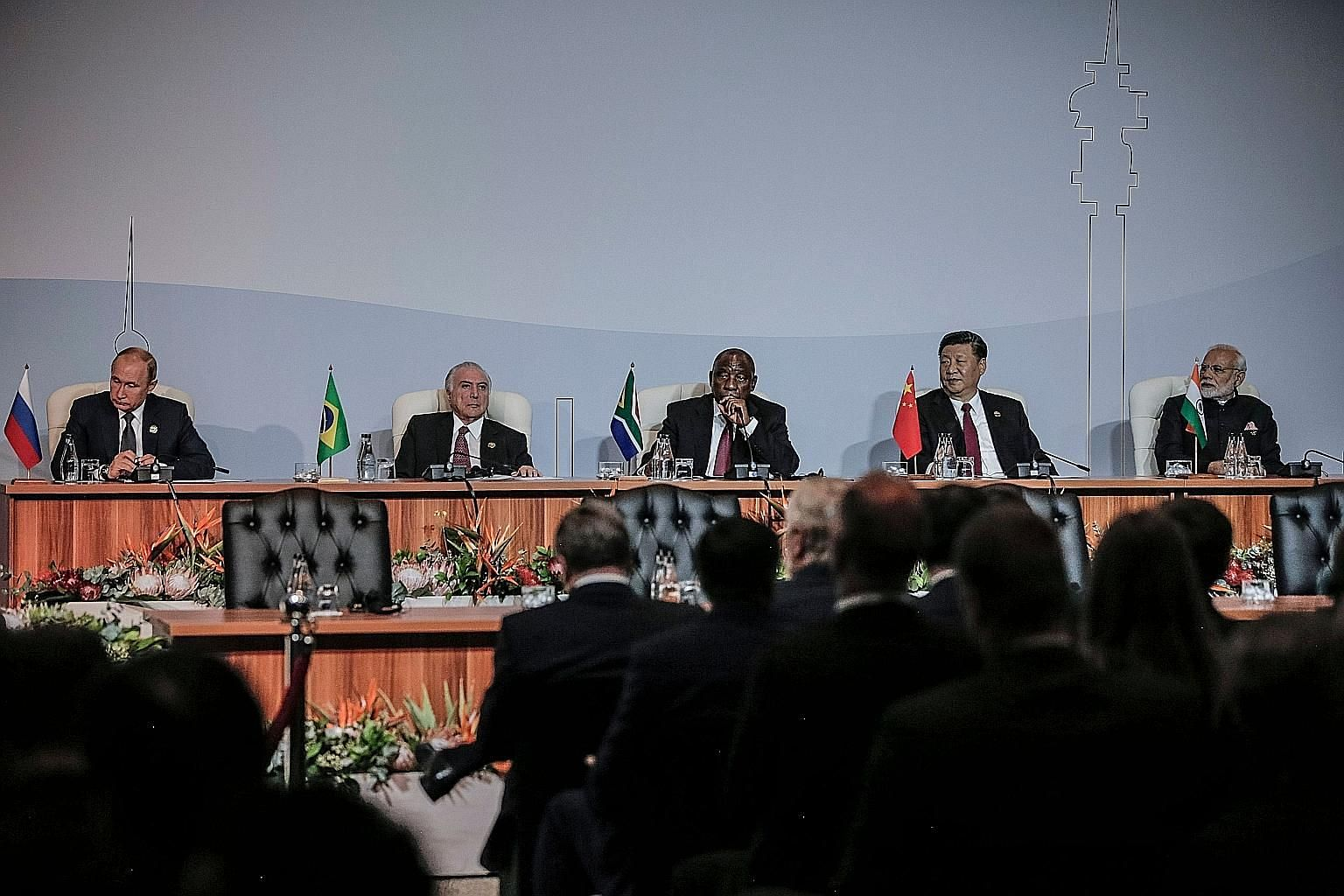 (From left) Brics leaders Vladimir Putin of Russia, Michel Temer of Brazil, Cyril Ramaphosa of South Africa, Xi Jinping of China and Narendra Modi of India attending the 10th Brics summit on Thursday.