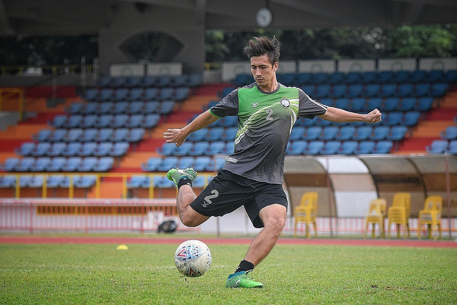 Geylang's Anders Aplin, 27, at training in Bedok Stadium on Monday. He is excited about the prospect of raising his playing standards.