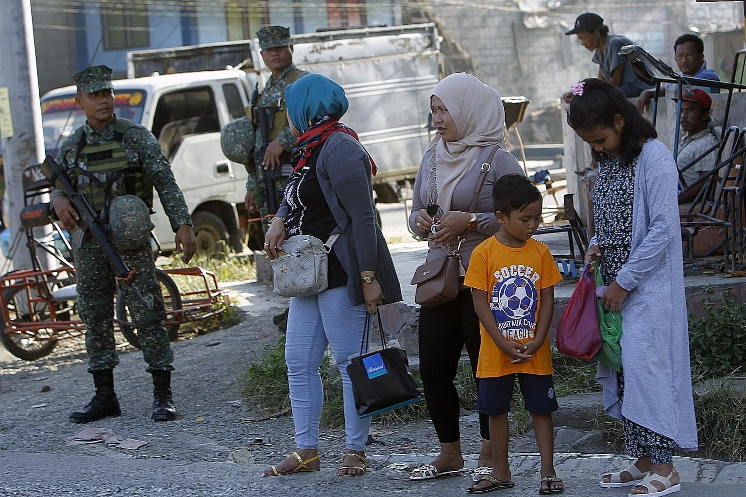 Filipino soldiers standing guard in Zamboanga city in southern Philippines last month. President Rodrigo Duterte has signed the Bangsamoro Organic Law, paving the way for the creation of a Muslim-majority autonomous entity in Mindanao and bringing pe