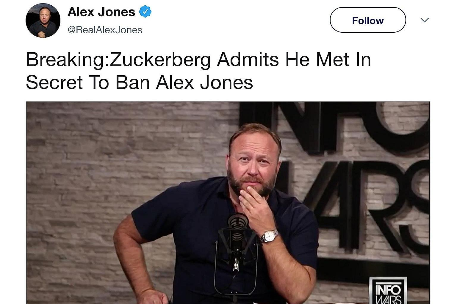 Far-right broadcaster Alex Jones, whose content has been banned on Facebook, YouTube, Apple and Spotify, continues to promote his talk show Infowars on Twitter and is actively trying to create new accounts to promote his material on other platforms.