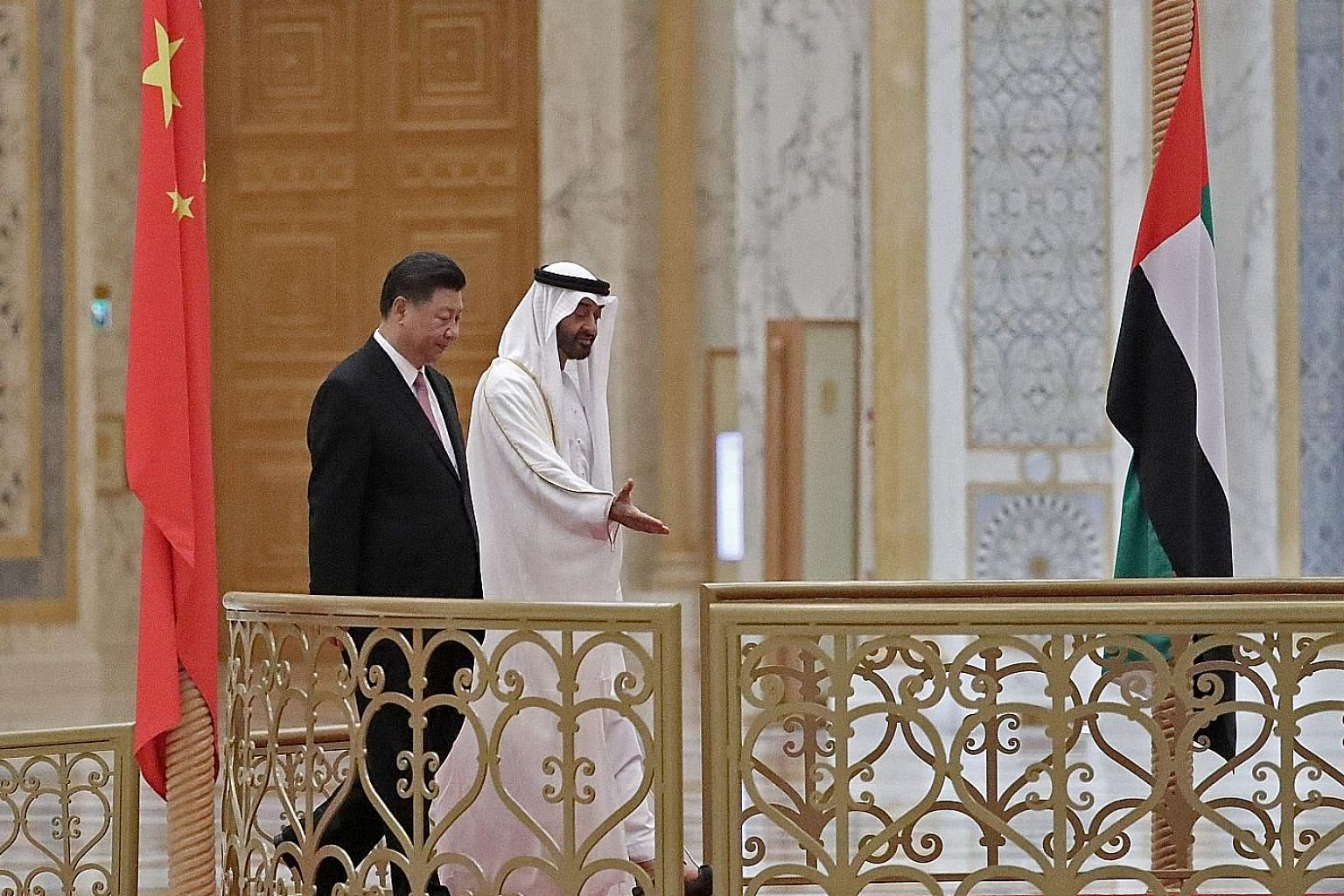 Chinese President Xi Jinping and Abu Dhabi's Crown Prince Mohamed bin Zayed Al-Nahyan at the presidential palace in the UAE capital last month. China is the UAE's biggest trading partner, with trade amounting to more than US$50 billion last year.