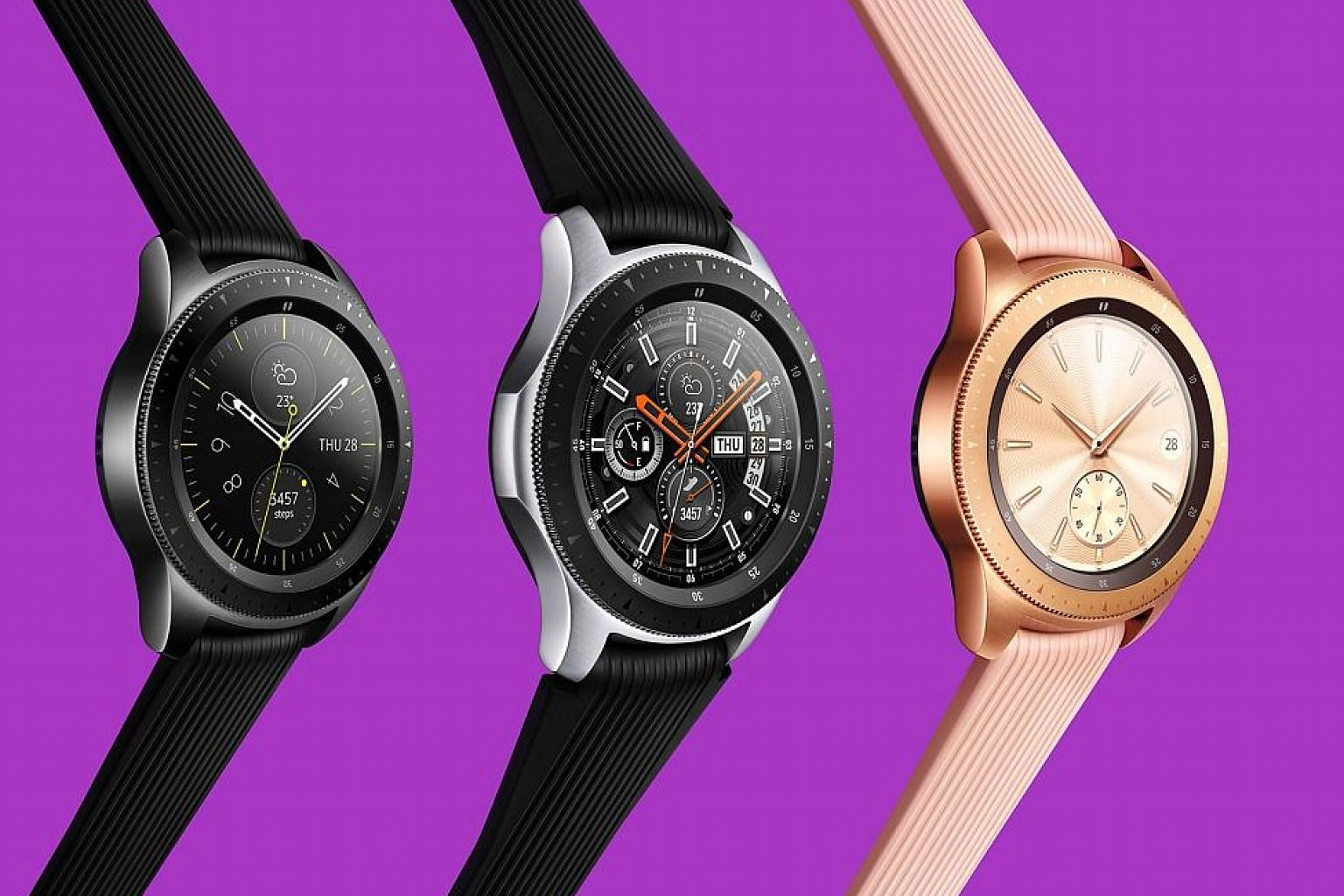 The Galaxy Watch, which is water-resistant to 50m, comes in two sizes - the rose gold or black 42mm models and a silver 46mm model.