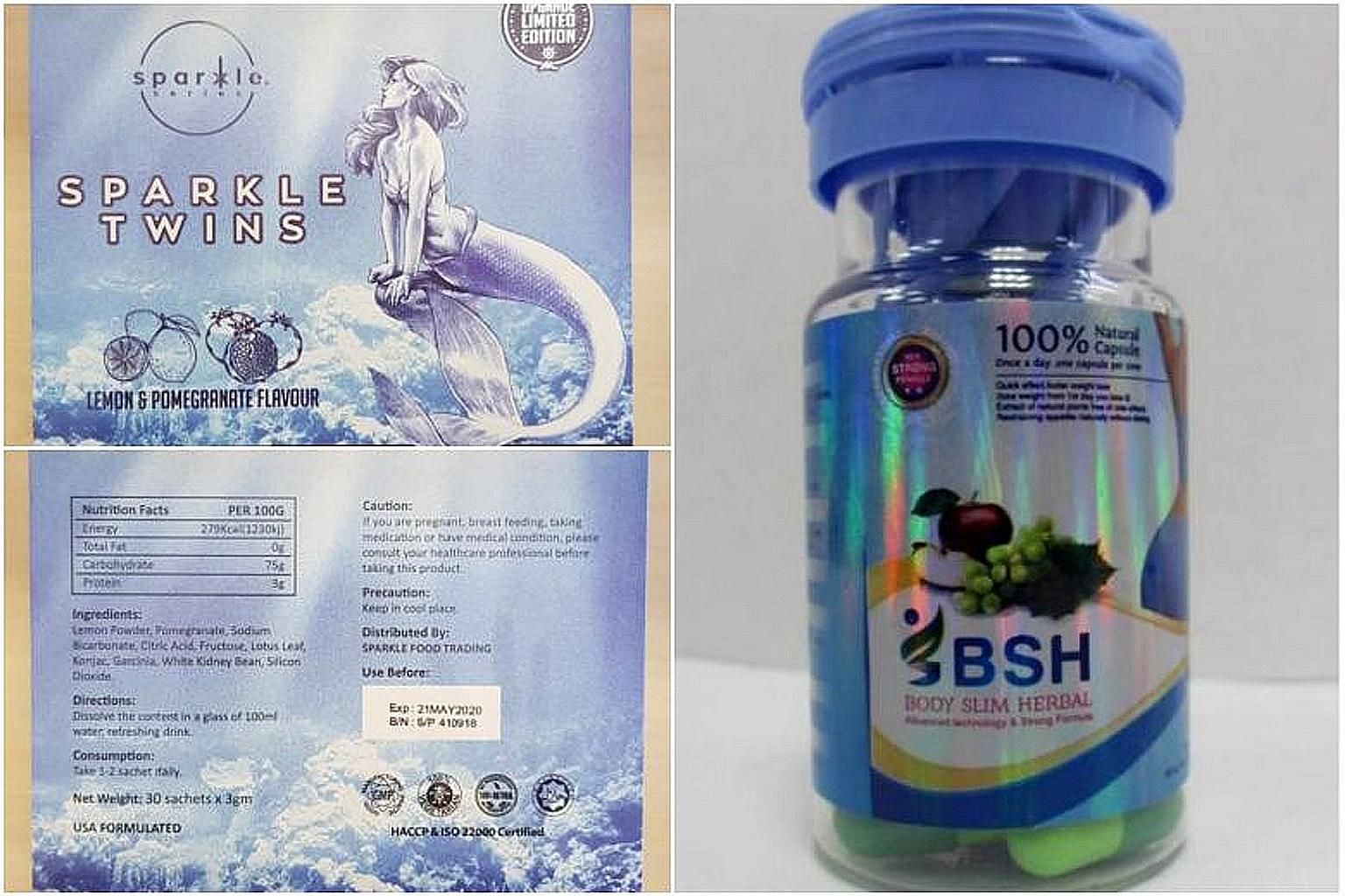 Both Sparkle Twins and Body Slim Herbal, which can be bought online, contain a banned substance that causes serious health risks.