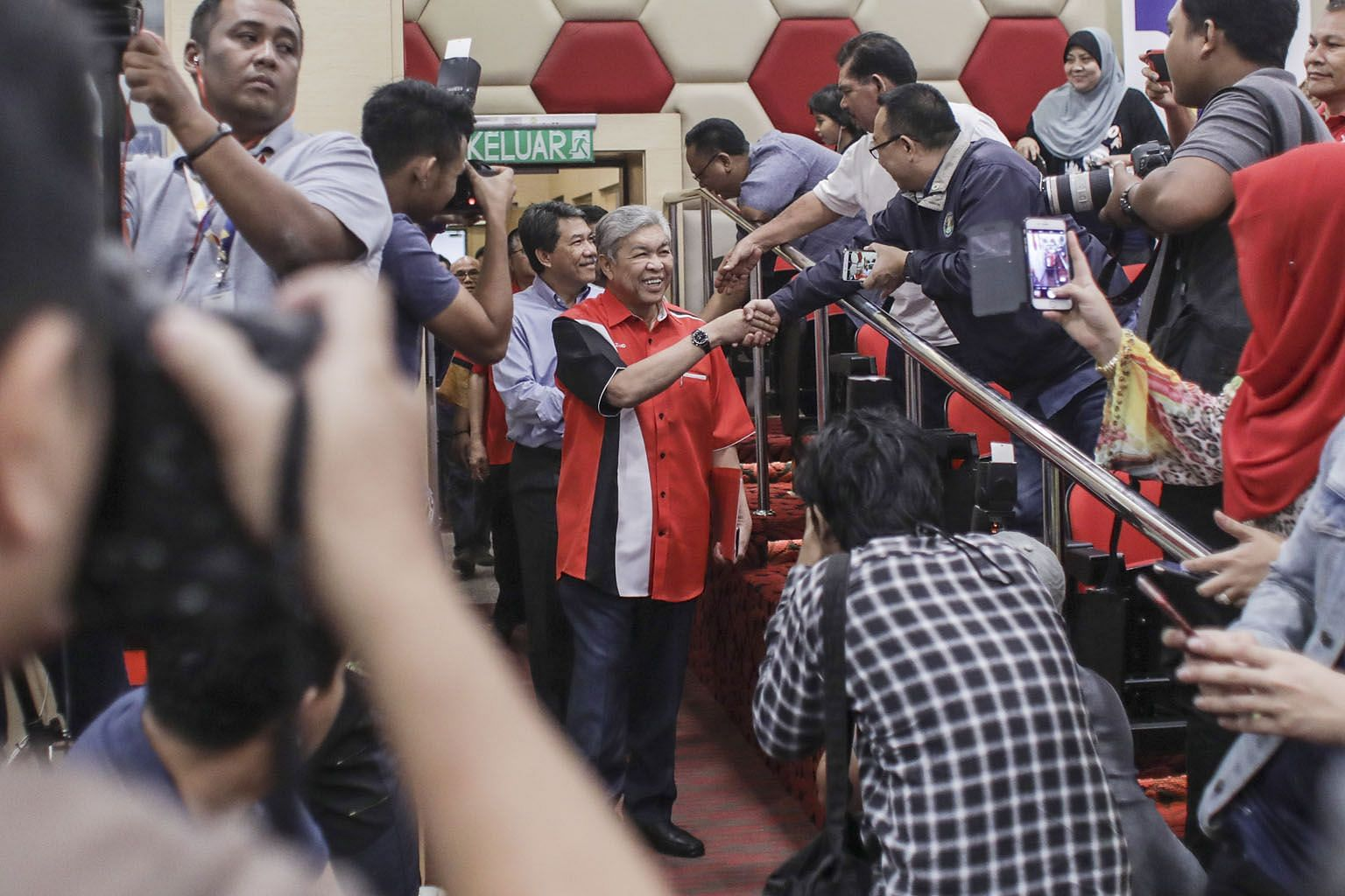 New Umno president Ahmad Zahid Hamidi and his deputy Mohamad Hasan arriving for a press conference in Kuala Lumpur, Malaysia, in July.