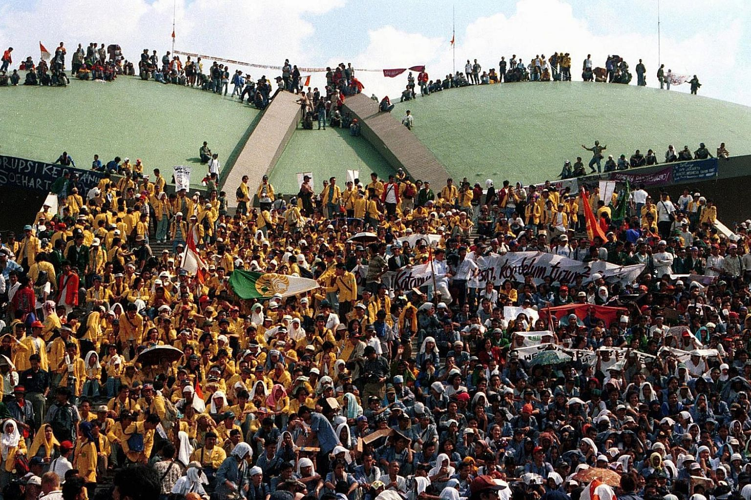 Thousands of students and activists staging a protest on Parliament's grounds in May 1998 to demand the resignation of Indonesian leader Suharto. Protesters, lawmakers and the military were eventually united in removing the strongman of 32 years from