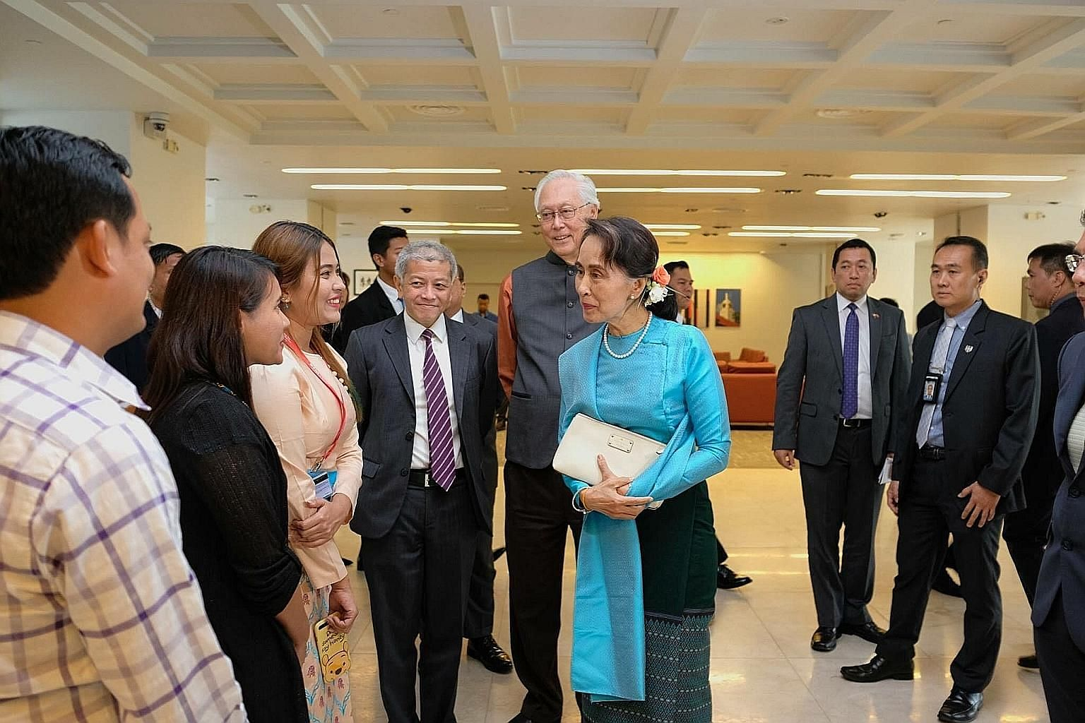 Above: Myanmar's State Counsellor Aung San Suu Kyi, who is here for a four-day working visit, was hosted to dinner yesterday by Foreign Minister Vivian Balakrishnan (left, with his wife) at his home. Dr Balakrishnan said in a Facebook post that it wa