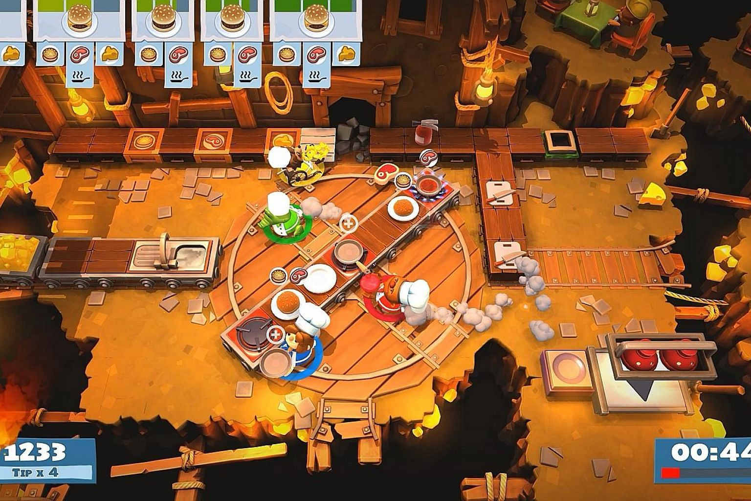 Overcooked 2 includes the ability to toss ingredients to fellow players.