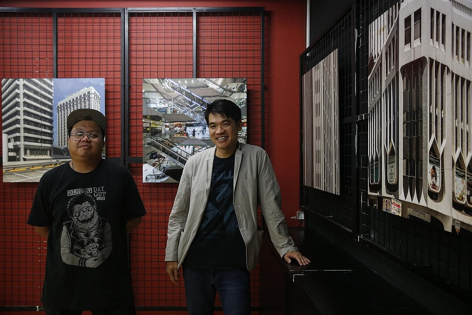 Artist Shaiful Risan (far left) and Assistant Professor Liew Kai Khiun are curators of The Mall Museum, a temporary walk-in exhibition that is taking a look at some of the older shopping complexes in Singapore.