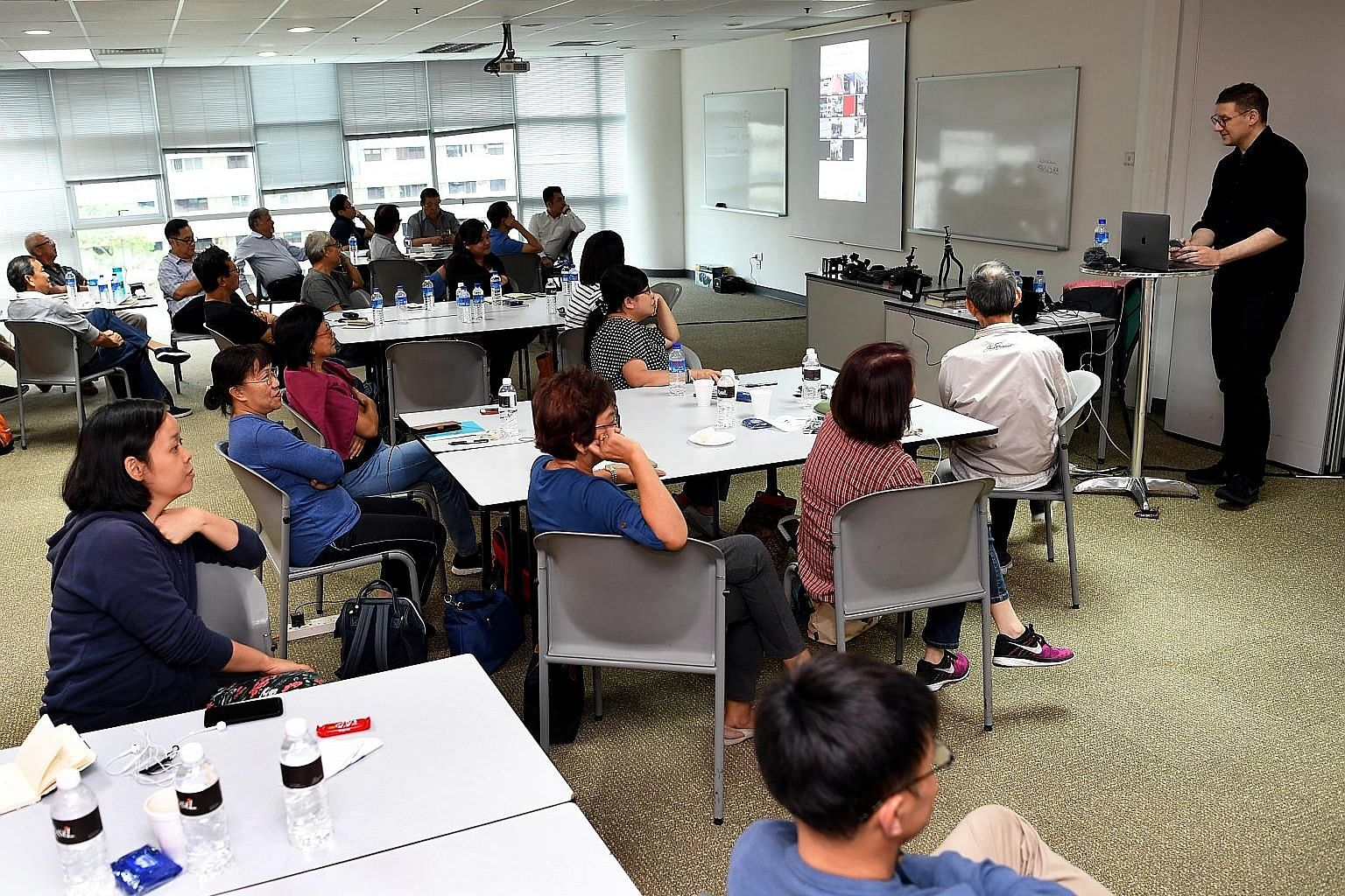 Stirr editor Jonathan Roberts speaking to the 29 participants at The Straits Times' first mobile video masterclass. The participants were taught how to plan, shoot and edit videos with their mobile phones. Two more sessions slated for next month and