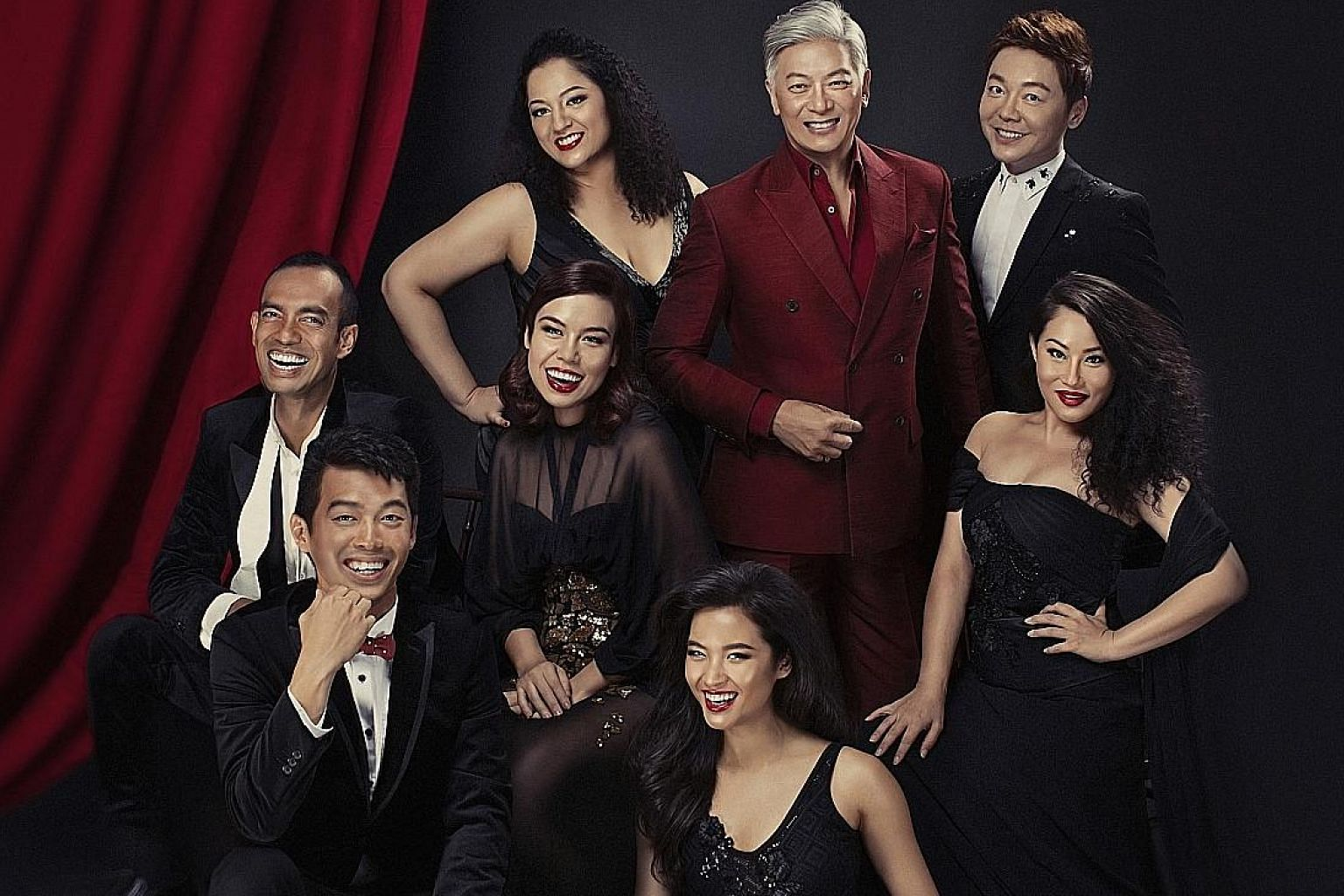 Dick Lee (centre, in red suit) with (clockwise from his left) Sebastian Tan, Denise Tan, Cheryl Tan, Frances Lee, Benjamin Chow, Dwayne Lau and Alemay Fernandez will be performing in Singapopera.