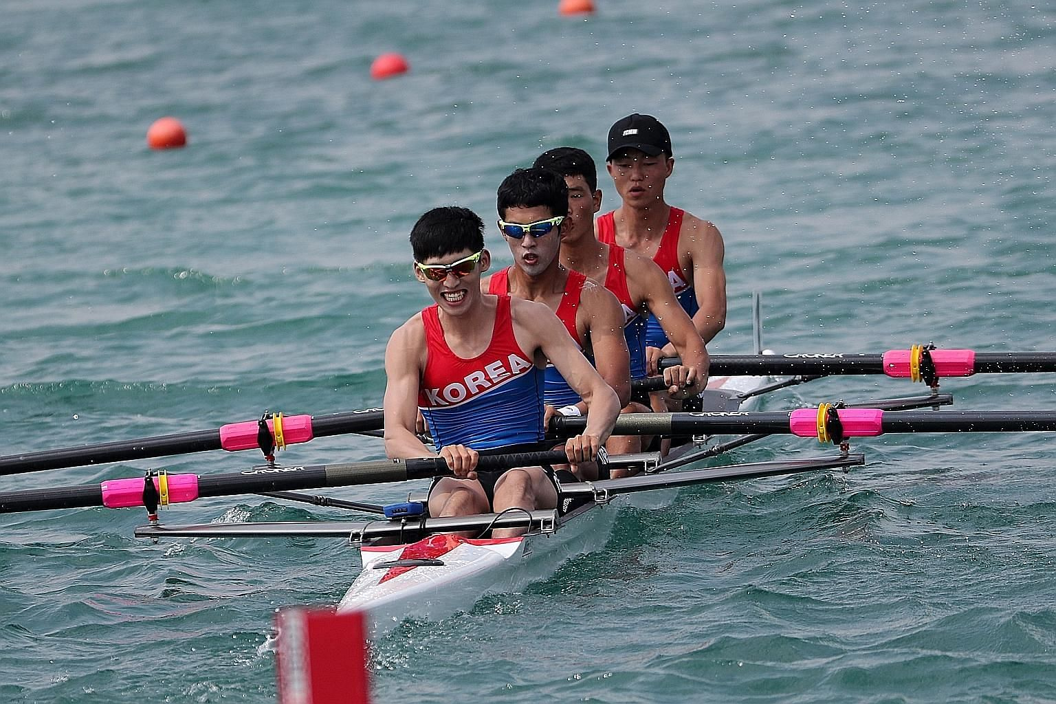 The unified team from North and South Korea competing in the men's lightweight four repechage rowing event in Palembang.