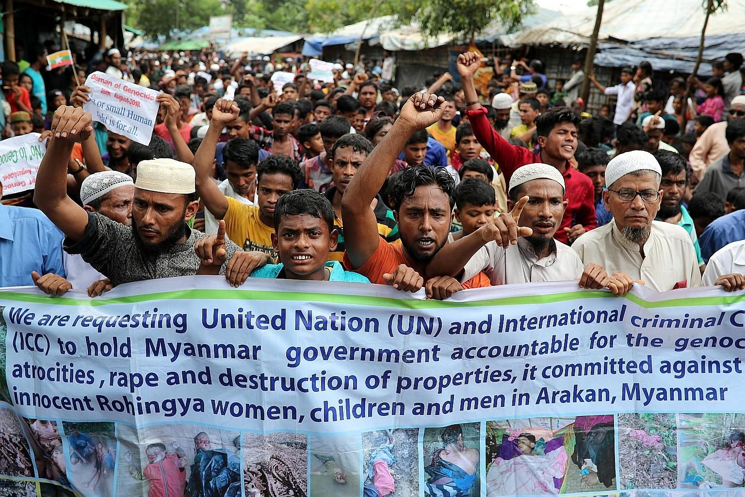 Angry Rohingya refugees yesterday marked the anniversary of their flight across the Myanmar border to Cox's Bazar in Bangladesh.
