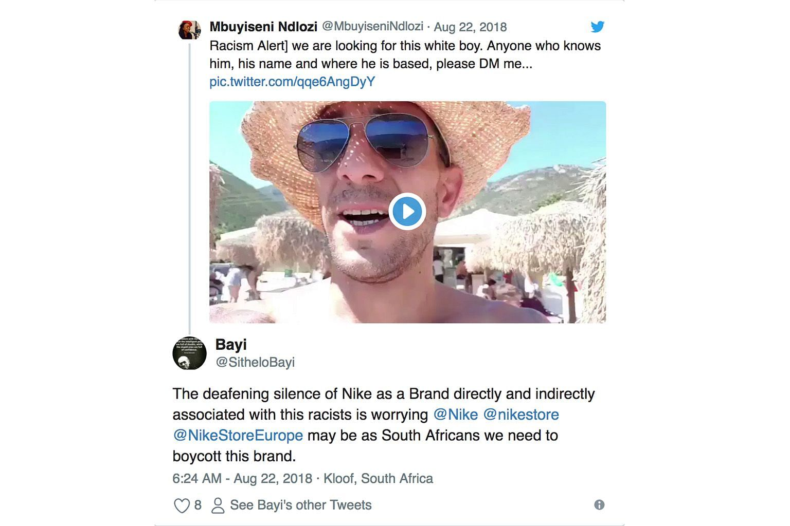 "South African businessman Adam Catzavelos has faced backlash after filming himself on a beach uttering the words: ""Blue skies, beautiful day, amazing sea, and not one (black person) in sight… it's heaven on earth. You cannot beat this."""