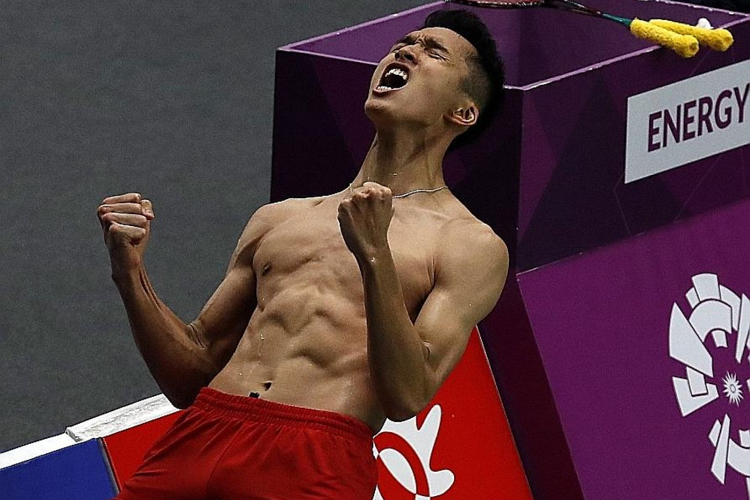 Jonatan Christie of Indonesia can't hide his joy after defeating Japan's Kenta Nishimoto 21-15, 15-21, 21-19 in the singles semi-finals yesterday.