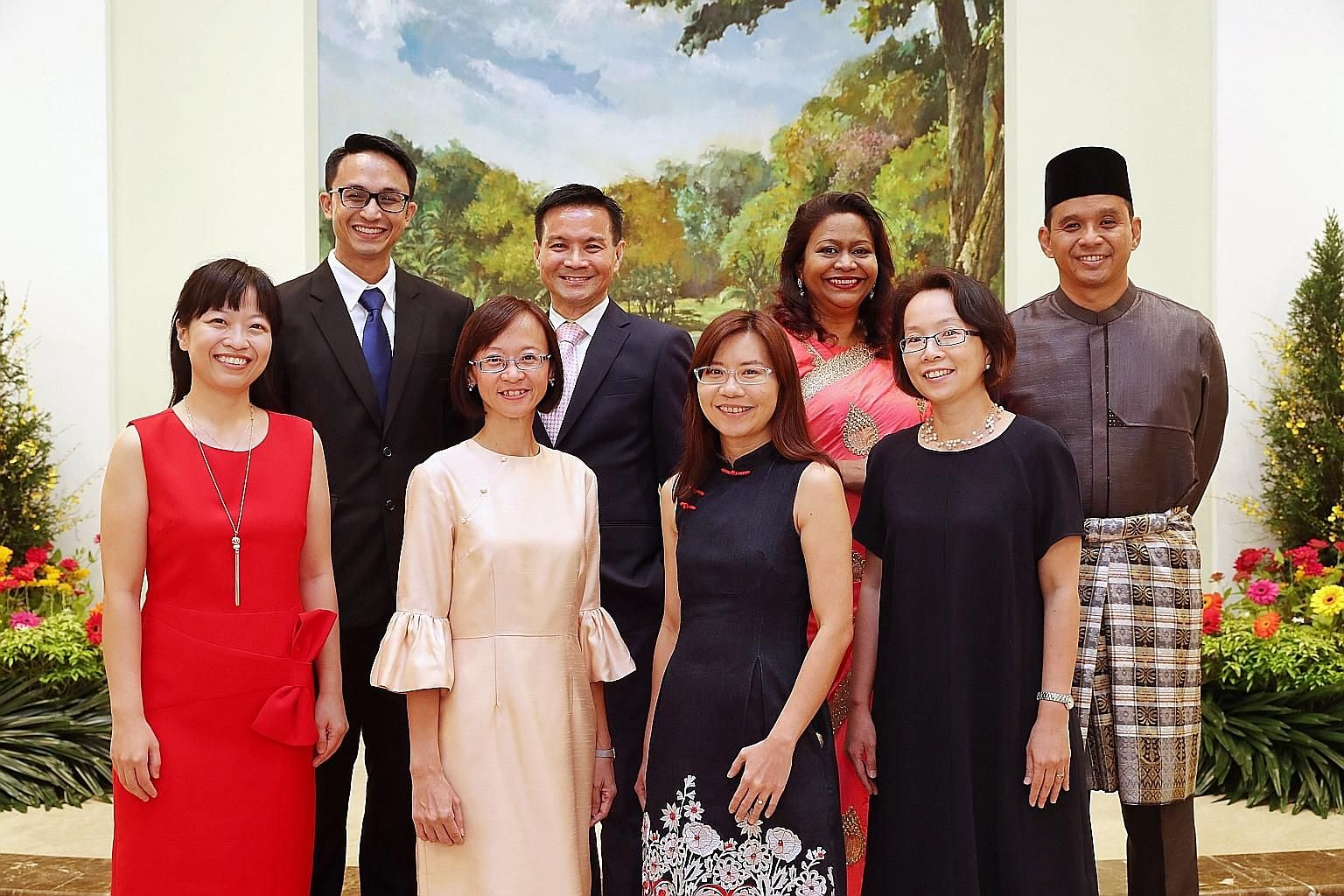 Recipients of the President's Award for Teachers 2018: (from left) Ms Ng Sheh Feng, 36, from Ahmad Ibrahim Secondary; Mr Matthew Ong, 38, from St Andrew's Junior School; Ms Goh Wai Leng, 42, from Geylang Methodist (Primary); Mr George Teo, 52, from S
