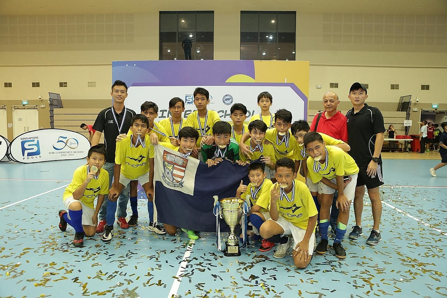 Bartley Secondary School beat Whitley Secondary 3-0 at Our Tampines Hub yesterday to claim the inaugural FAS-Singapore Pools Inter-School Futsal Challenge (ISFC) Under-14 tournament, which was contested by 40 teams from 35 schools. Bendemeer Secondar
