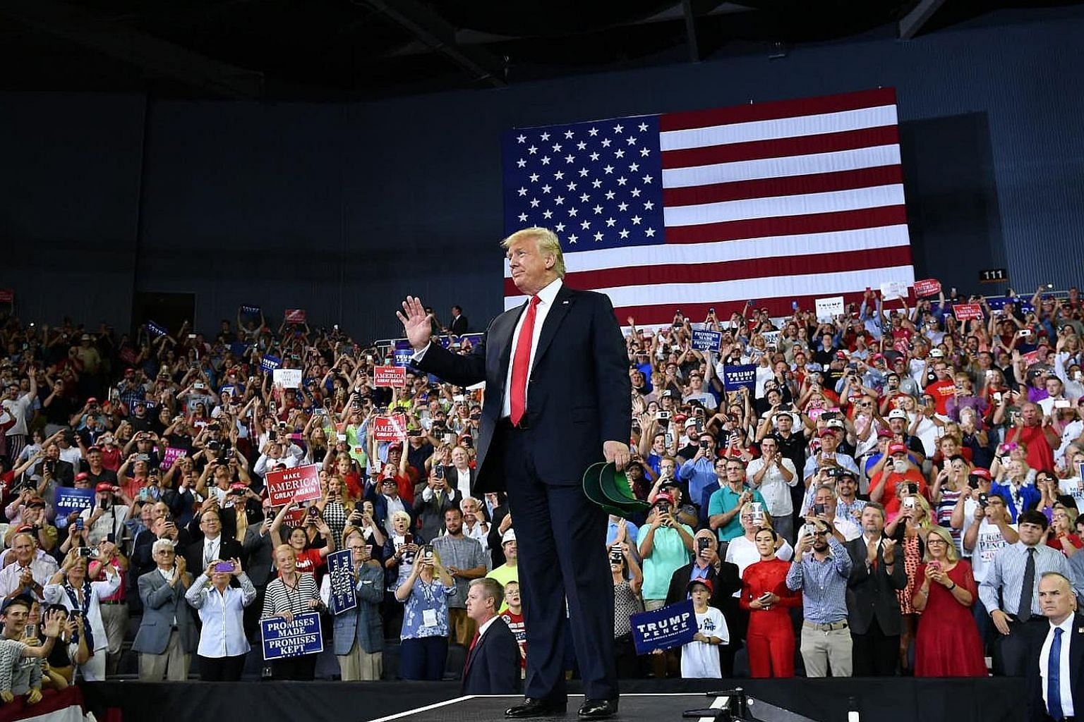 US President Donald Trump at a campaign rally in Indiana on Thursday. Broadening the tariff battle would mark the most significant move yet in a months-long trade stand-off and dent China's growth prospects.