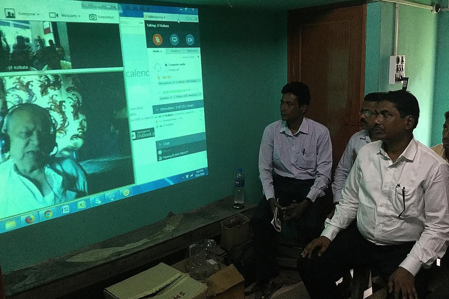 A group of rural healthcare workers in West Bengal being trained via video conference. The non-profit Liver Foundation has trained about 3,000 such workers, and the nine-month programme covers subjects such as basic human physiology and anatomy as we