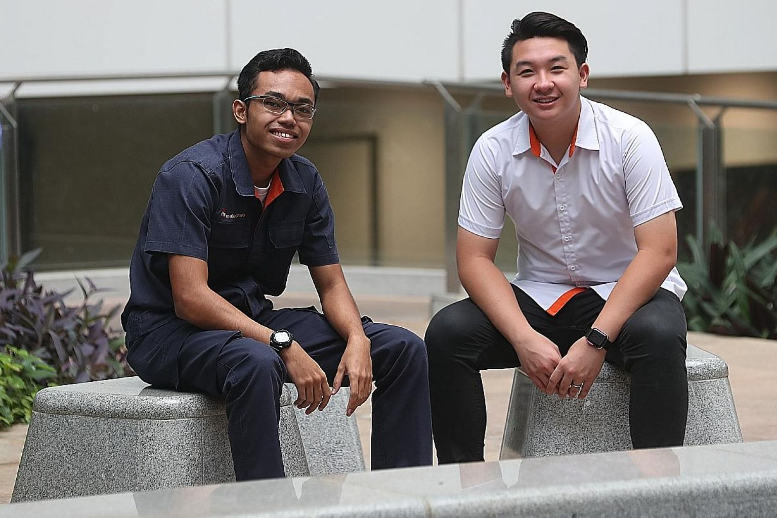 ITE second-year students Muhammad Akmal Abdul Rahman, who is pursuing a Higher Nitec in Mechanical Engineering, and Samuel Tan, who is studying for a Higher Nitec in Civil Engineering and Structural Engineering Design. Both opted for the ITE after th