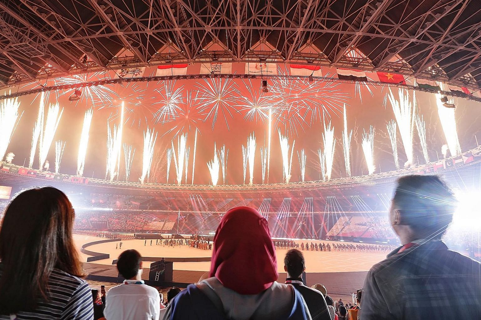 A dazzling display of fireworks during the closing ceremony of the 18th Asian Games in Jakarta yesterday.