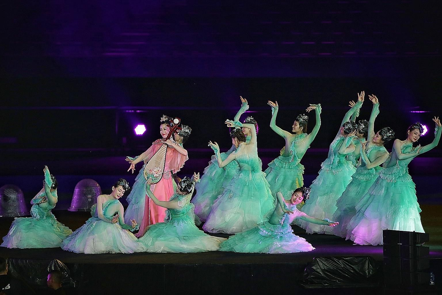 Chinese performers at the closing ceremony of the 18th Asian Games in Jakarta on Sunday, with 2022 hosts Hangzhou the third Chinese city to organise the biennial multi-sport event.