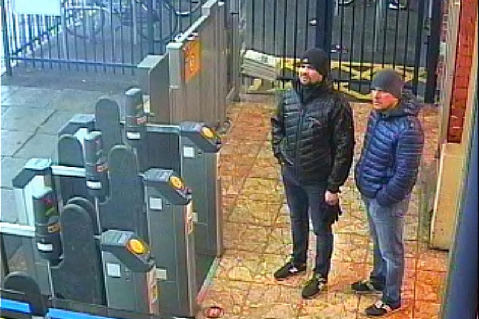 A handout photo taken in Salisbury on March 3 showing Alexander Petrov (right) and Ruslan Boshirov, whom British police have identified as the men who tried to kill Mr Sergei Skripal and his daughter with Novichok.