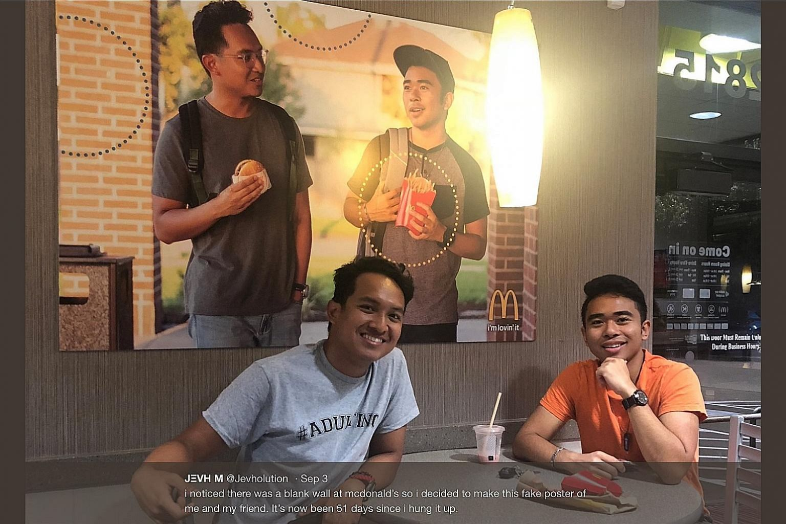 Unhappy that posters in a Houston McDonald's restaurant have no Asian representation, Mr Jevh Maravilla (right) roped in his friend, Mr Christian Toledo, to stealthily put up in the eatery a poster showing their faces.