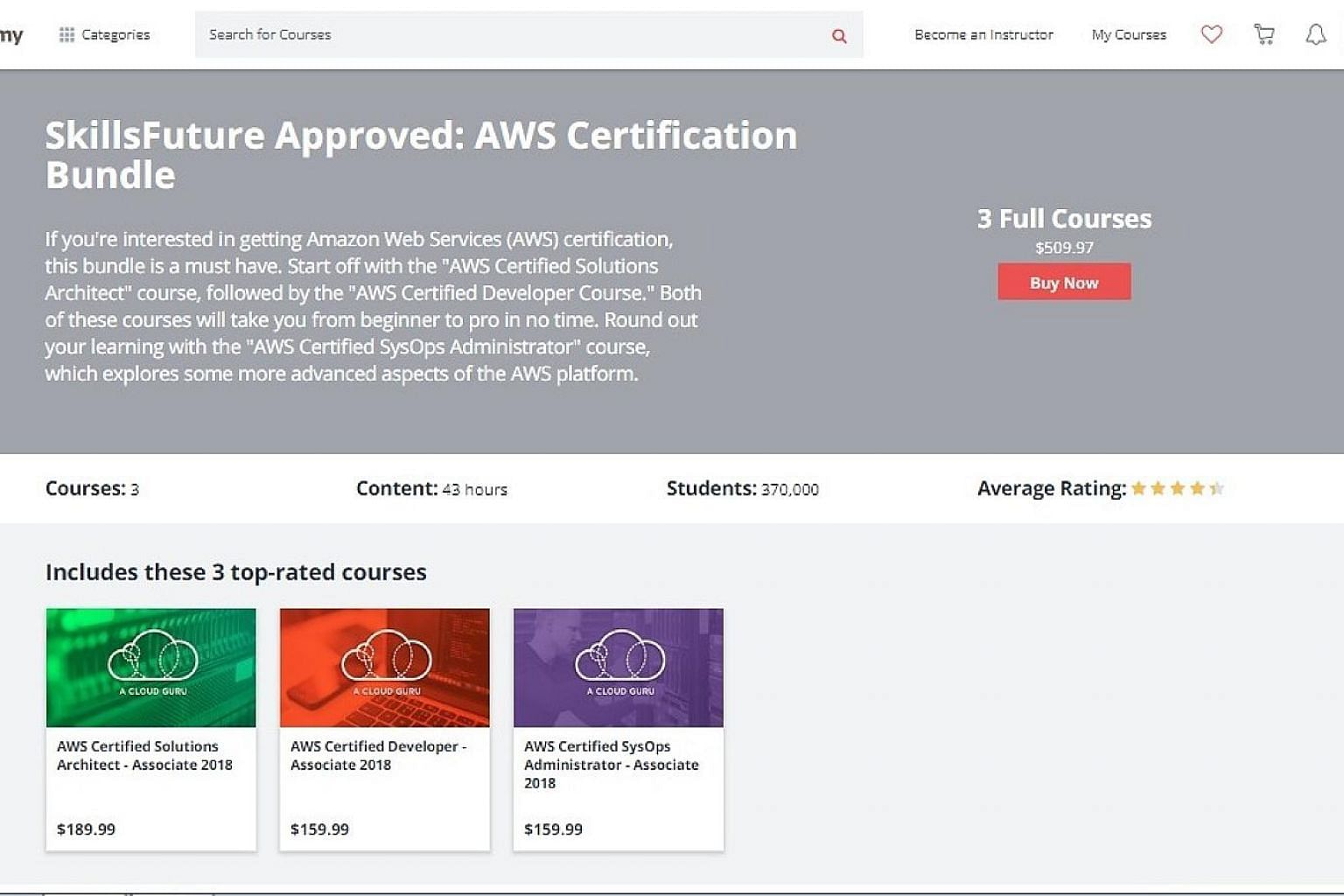 A screenshot of Udemy's website showing the SkillsFuture-approved AWS (Amazon Web Services) Certification Bundle course priced at $509.97. The portal had a promotion earlier that had offered the same three courses in the bundle for just $17.99 each.