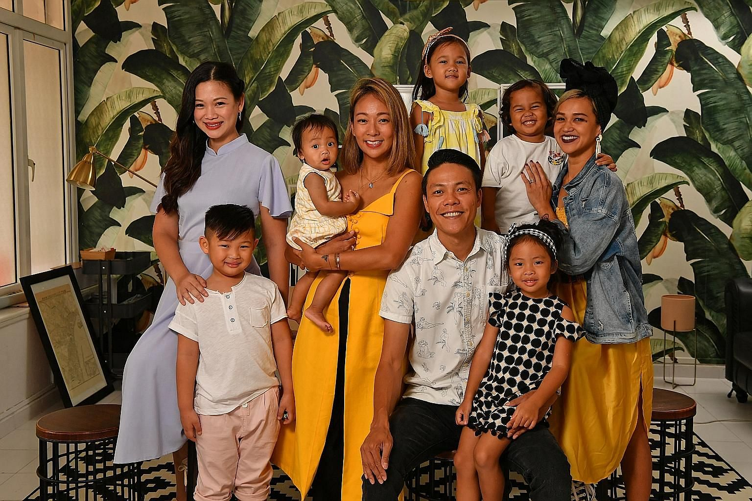 Founders of the Life Beyond Grades movement (from left): Ms Tjin Lee, with her son, Tyler Lim; Ms Charmaine Seah, carrying daughter Dahlia Jaymes Ong; Mr Derek Ong, with daughter Charlie Rose; and Ms Aarika Lee with her children, Ari Jon (in white T-
