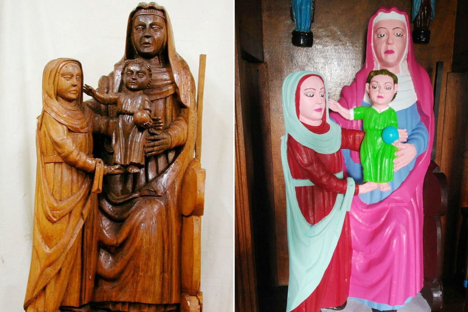 A 15th-century wooden statue in Spain has been repainted so that the Virgin Mary now has a bright pink headscarf and baby Jesus is clothed in a bright green robe.