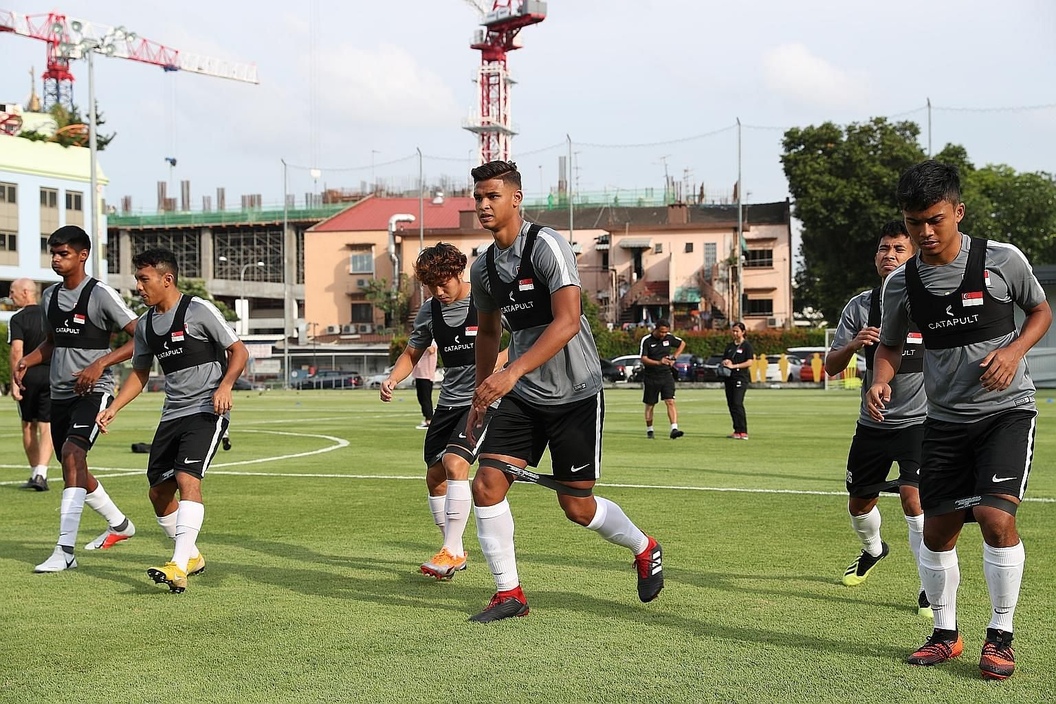The Lions squad training at Geylang Field last week ahead of the Mauritius and Fiji friendly internationals. Among the areas coach Fandi Ahmad wants to improve on are a lack of concentration at times and the inability to capitalise on set pieces.