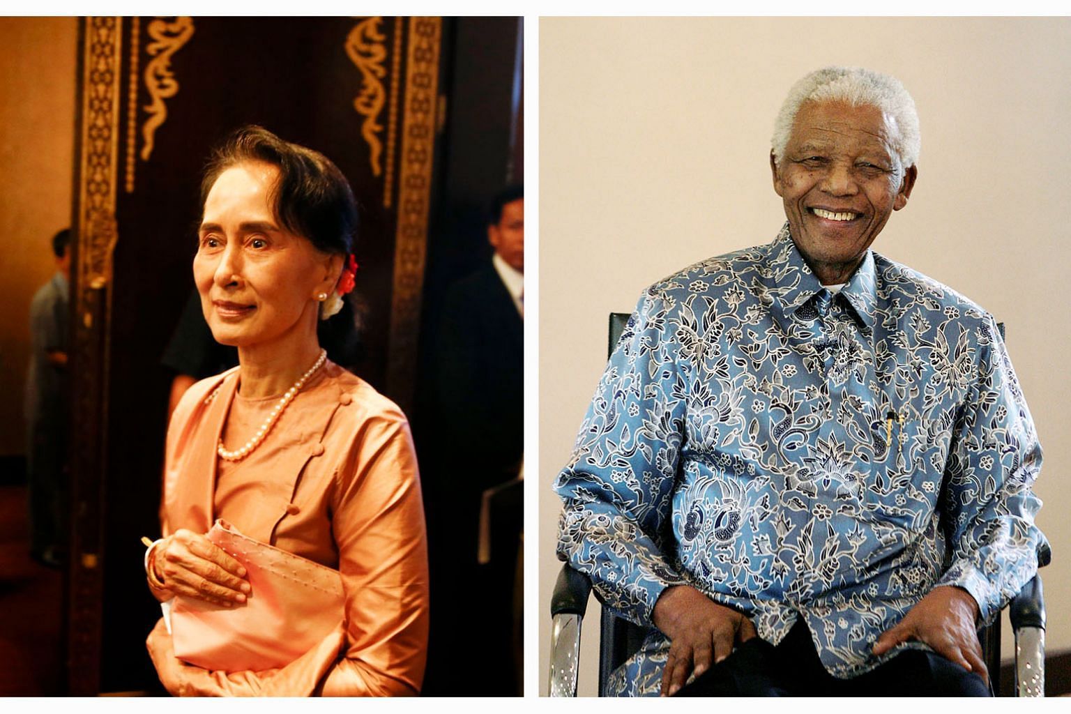 Ms Aung San Suu Kyi's reputation has taken a hit over her government's failure to deal with economic and military issues. The late South African leader Nelson Mandela's reputation has proved more enduring.