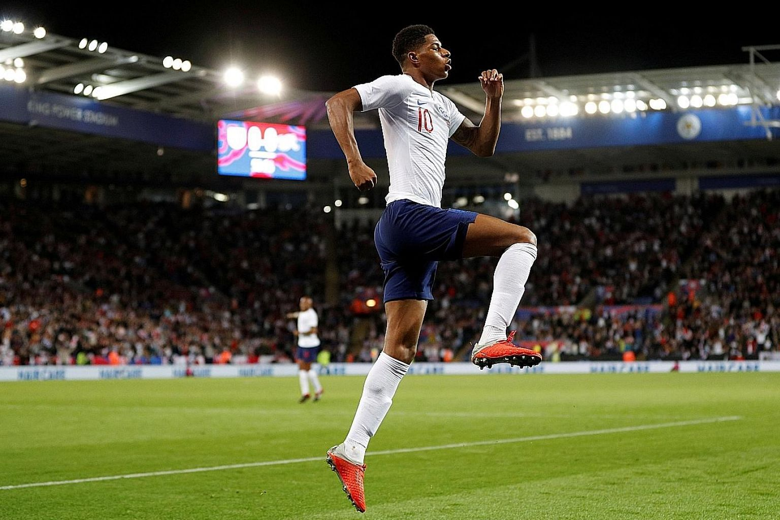 England's Marcus Rashford celebrating after scoring the winner in the 1-0 friendly win over Switzerland. It was also the fifth international goal for the striker, who started the match in place of captain Harry Kane.