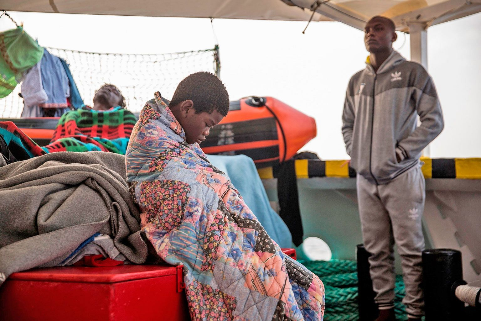 A child from the Central African Republic who was among 59 migrants rescued as they tried to cross the Mediterranean in July. Most of the conflict-hit nation is beyond the control of the government.