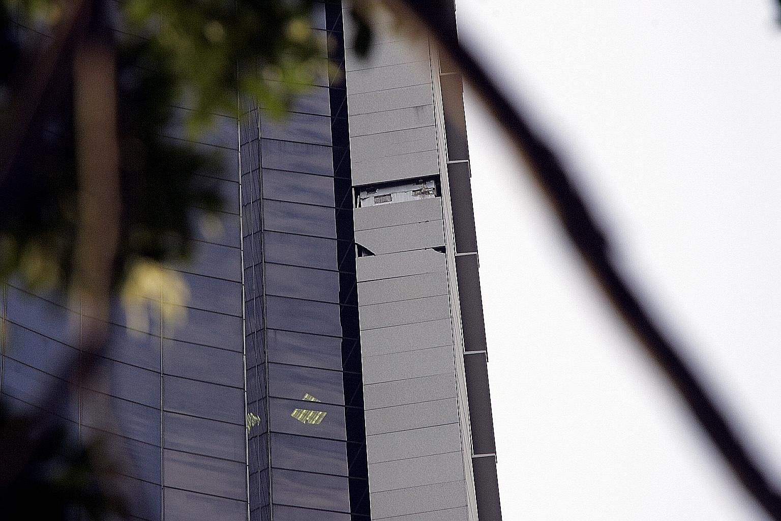 Above: In 2004, a panel fell off Centennial Tower's facade from the 29th storey. The incident, in which no one was hurt, led Millenia to sue Dragages and Builders Shop in 2006, and the parties reached a settlement in 2007.
