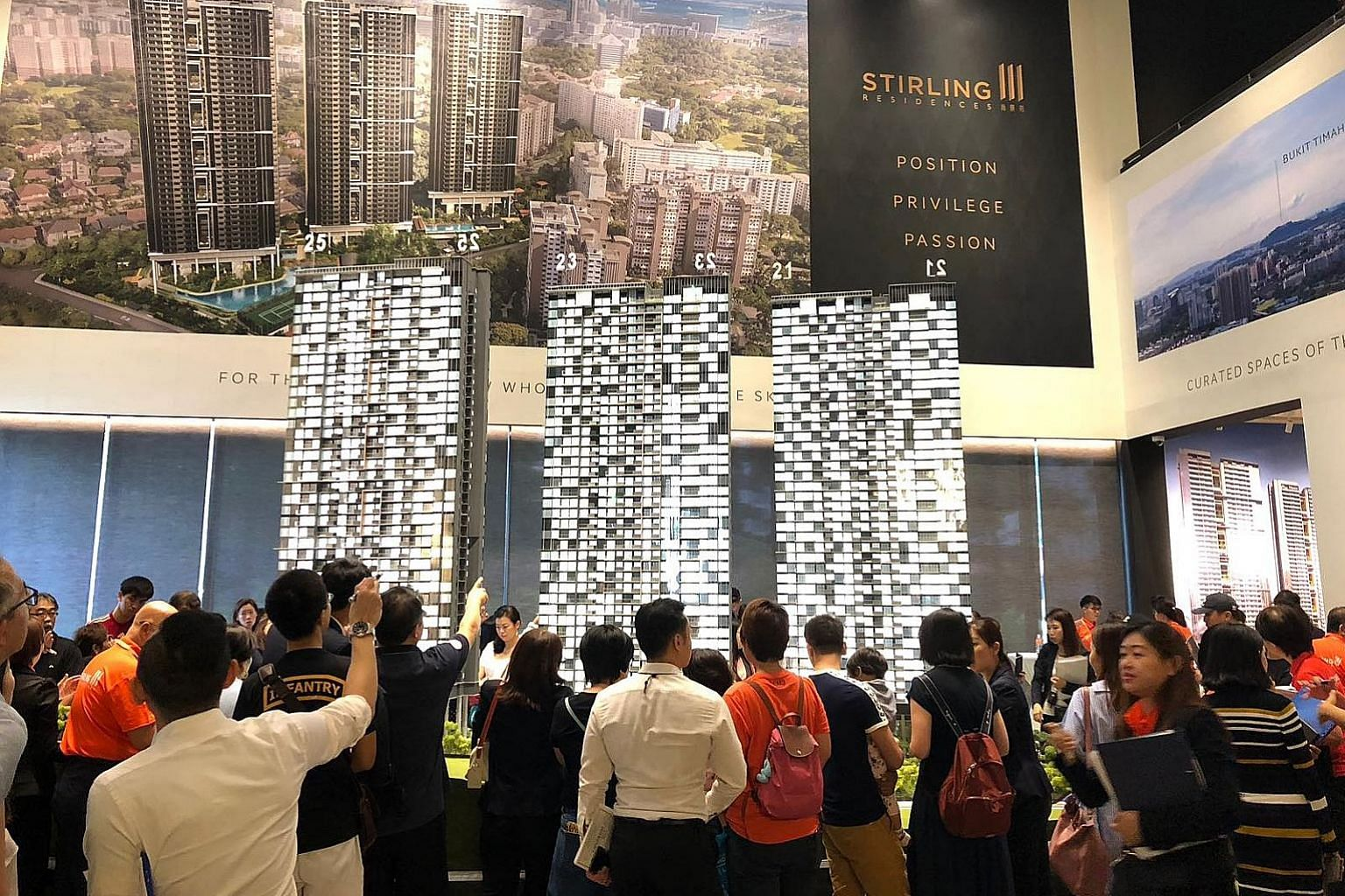 The crowd at the Stirling Residences show suite in July. The property was among the top sellers last month, with 91 units transacted at a median price of $1,757 per sq ft.