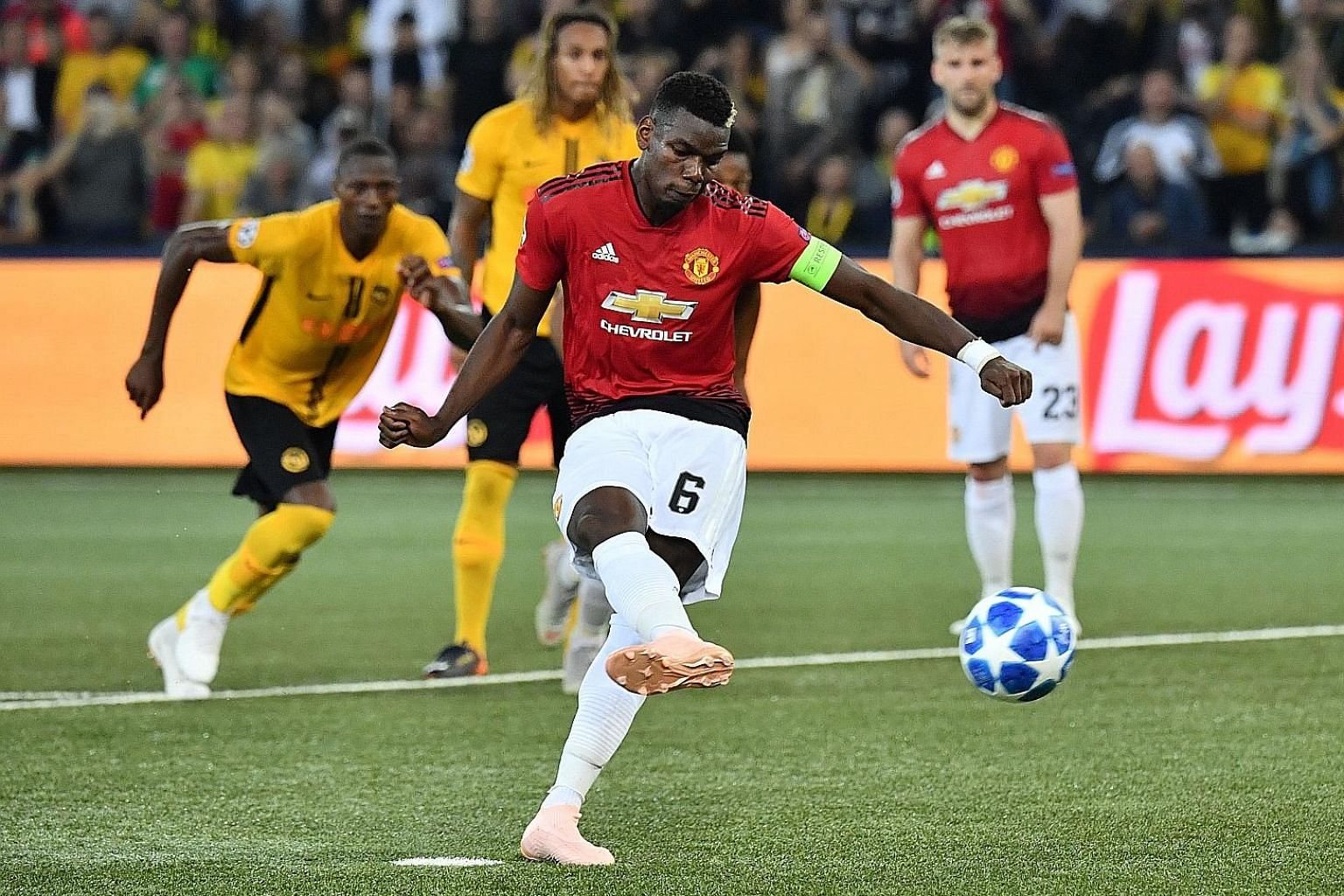 Manchester United's stand-in skipper Paul Pogba scoring from the spot against Young Boys to make amends for missing a penalty against Burnley in the league last month. United won 3-0 in Switzerland, with Pogba scoring two and creating the other.
