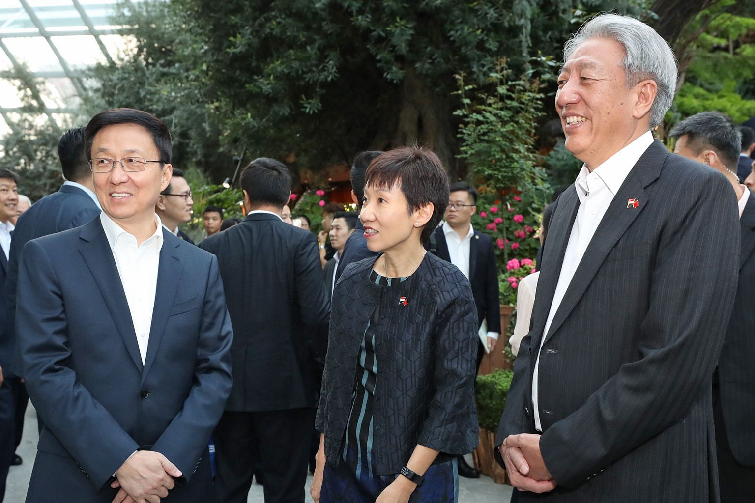 (From left) Chinese Vice-Premier Han Zheng, Minister for Culture, Community and Youth Grace Fu and Deputy Prime Minister Teo Chee Hean at the Gardens by the Bay yesterday, where Mr Han was hosted to dinner by DPM Teo.
