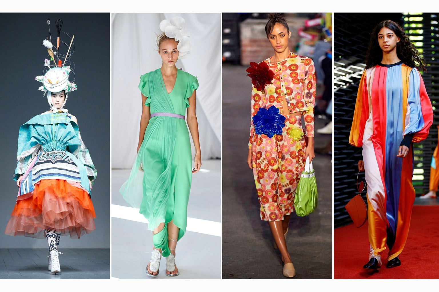 On display at London Fashion Week were creations by (clockwise from above) Matty Bovan, Delpozo, Molly Goddard and Roksanda.