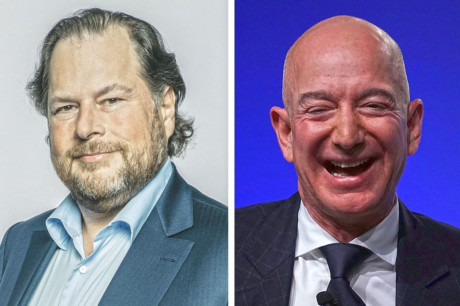 Salesforce founder Marc Benioff (left) and Amazon.com founder Jeff Bezos are among a group of tech moguls to buy a diminished media asset recently. Mr Benioff bought Time magazine and Mr Bezos bought The Washington Post.