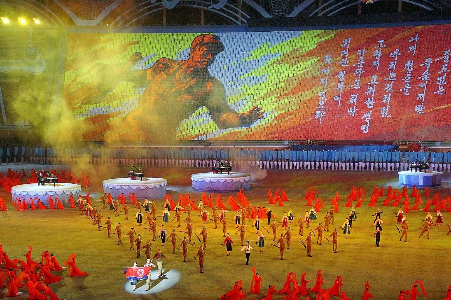A display during the Mass Games held last Friday at Pyongyang's May Day Stadium. The showcase included the history of North Korea, from its founding in 1948 to talks with South Korean President Moon Jae-in in April.