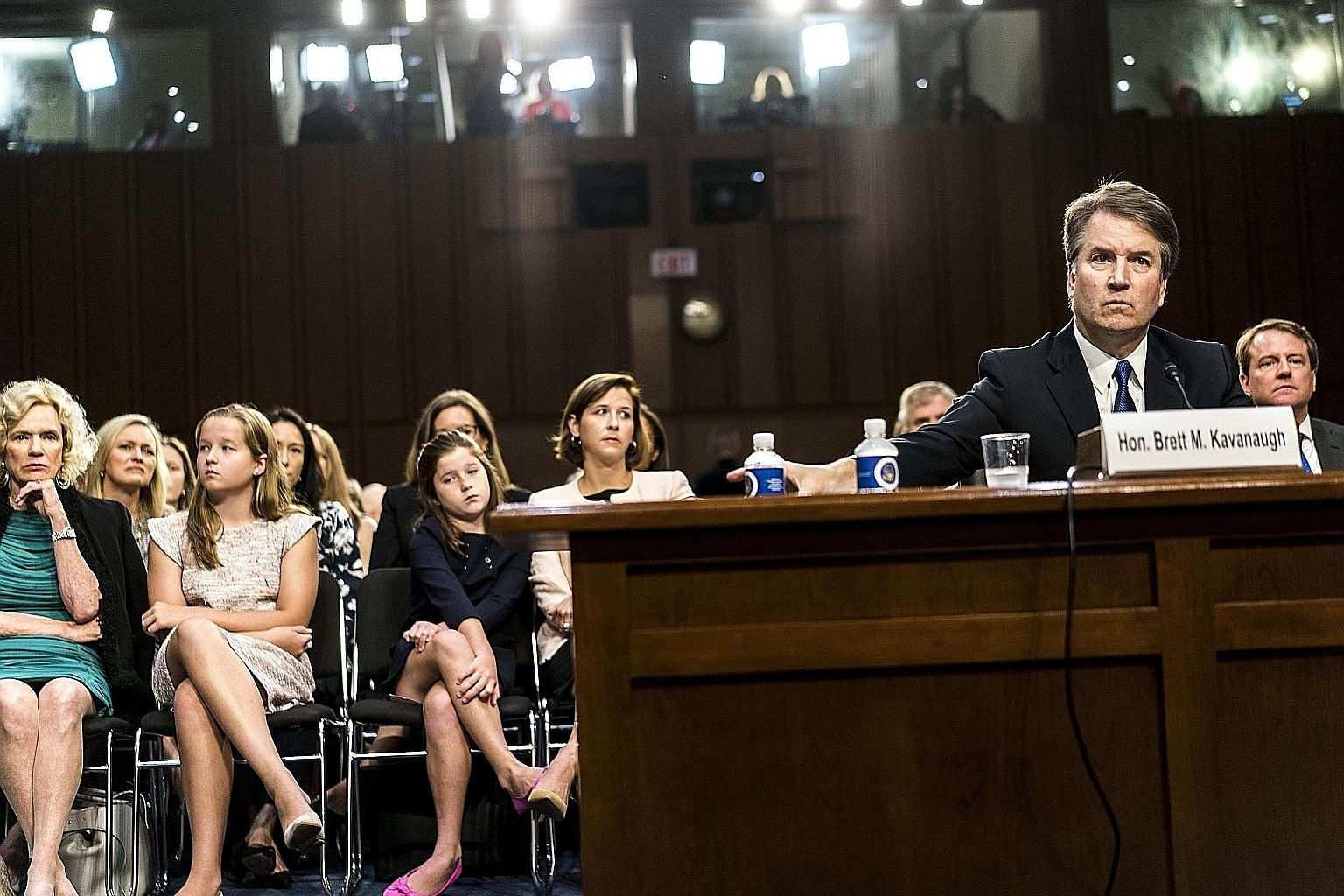 President Donald Trump's Supreme Court nominee Brett Kavanaugh at his confirmation hearing on Sept 4. He now faces two separate allegations of sexual misconduct, both allegedly taking place in the 1980s.