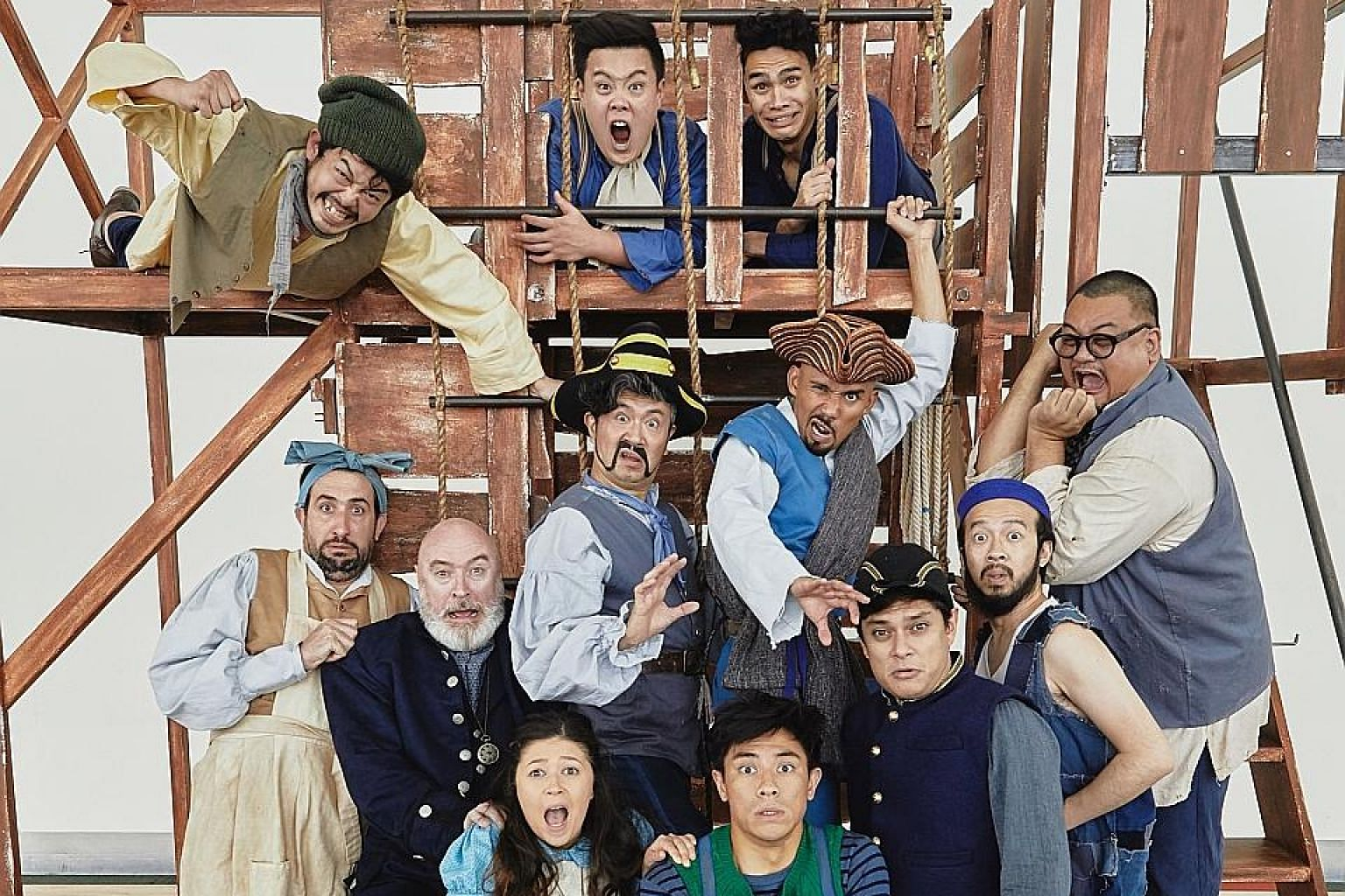 In Peter And The Starcatcher, the cast clambers up and down a set that resembles a challenging jungle gym.